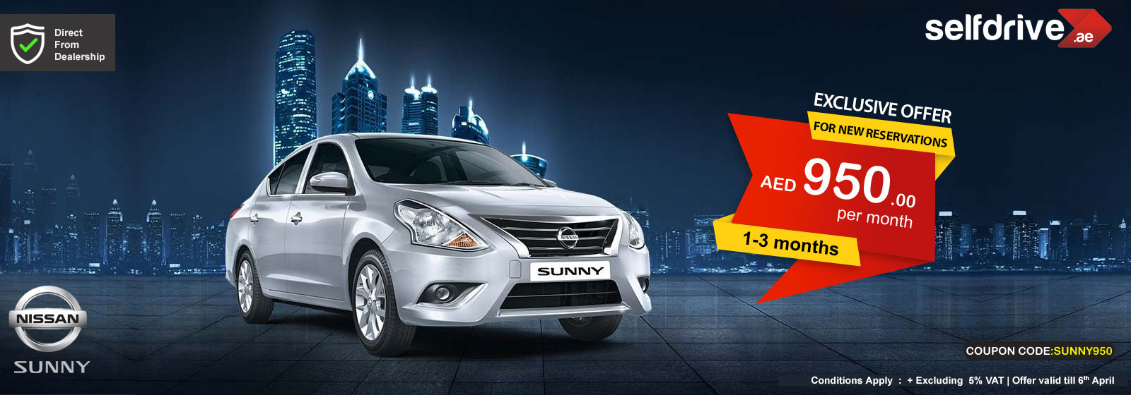 Rent Nissan Sunny exclusive offer for 1-3 months