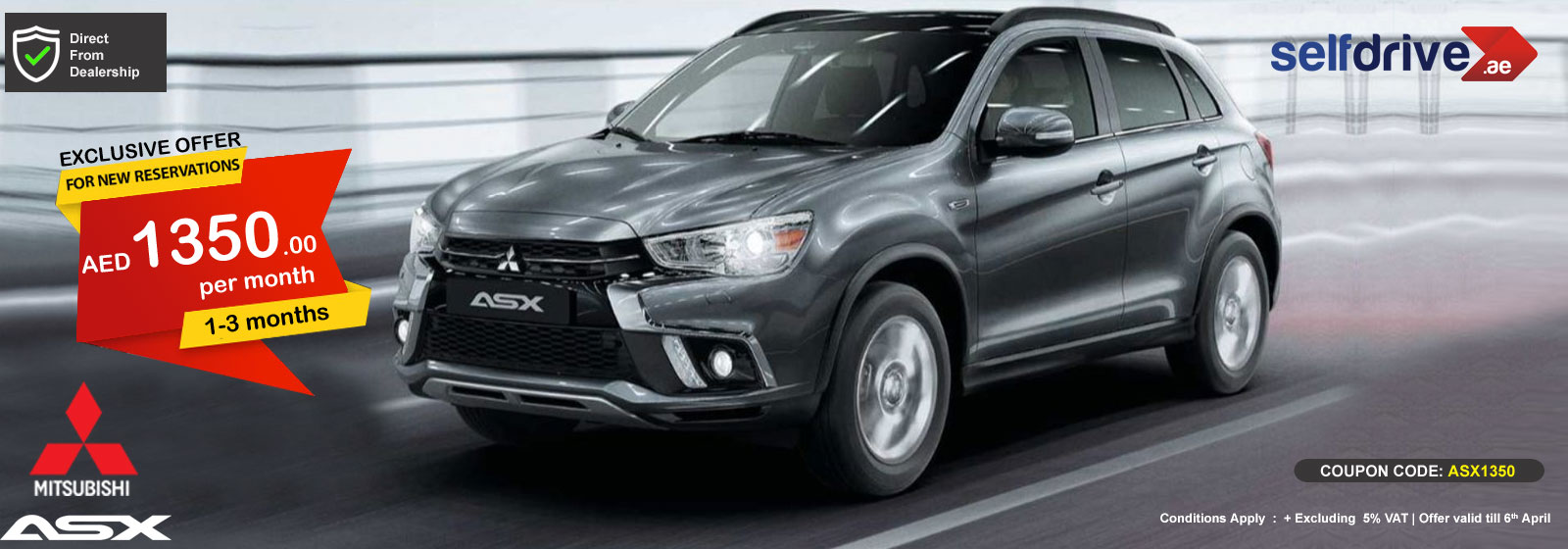 Rent Mitsubishi ASX exclusive offer for 1-3 months
